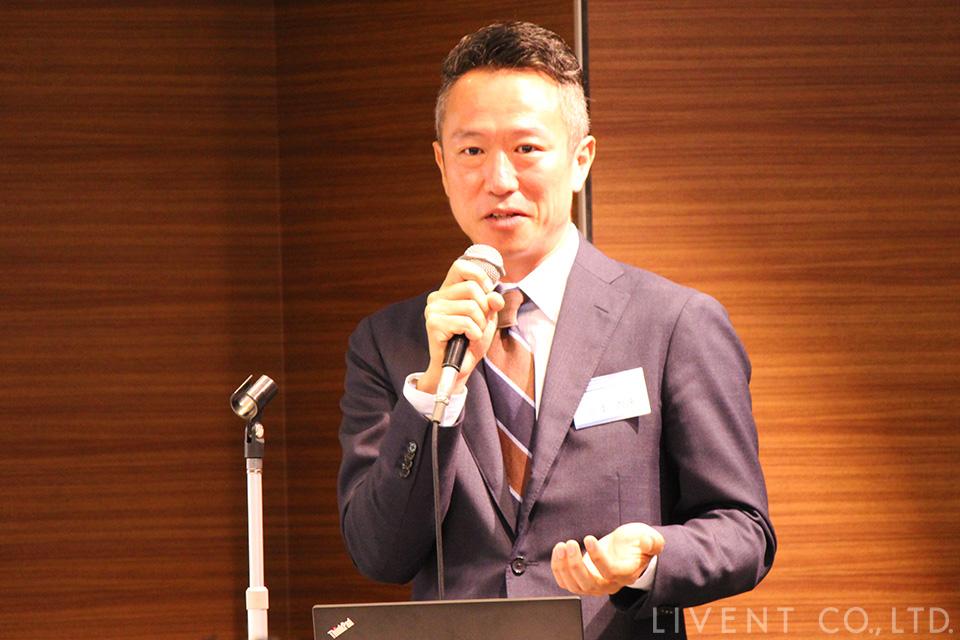 大田区倫理法人会で講演する三上力央